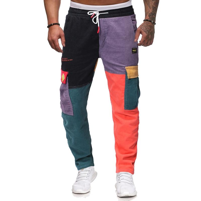 Hip Hop Jeans Retro Stitching Corduroy Multi-process Jeans Harem Pants Men's Street Pants Jogging Sports Pants Cotton Jeans