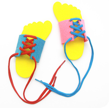 Kids Montessori Educational Toys Children Toddler Lacing Shoes Leaing To Tie Shoelacesrn math Toy Early Teaching Aids(China)
