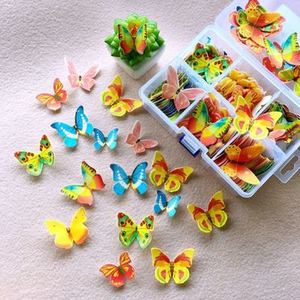 100pcs Poker Butterfly Flowers Edible Glutinous Wafer Rice Paper Cake Cupcake Toppers Cake Decoration Birthday Wedding Cake Tool