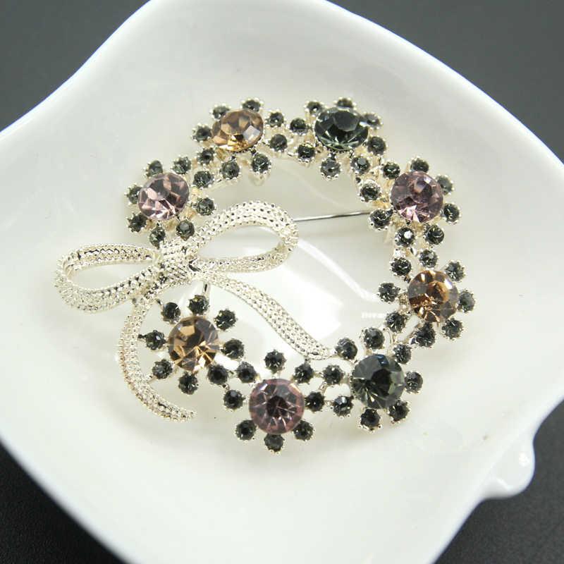Rhao Lucu Busur Simpul Bros untuk Wanita dan Anak Perempuan Gaun Mantel Perhiasan Pin Multi Warna Kristal Bulat Bunga Bros Pernikahan bros