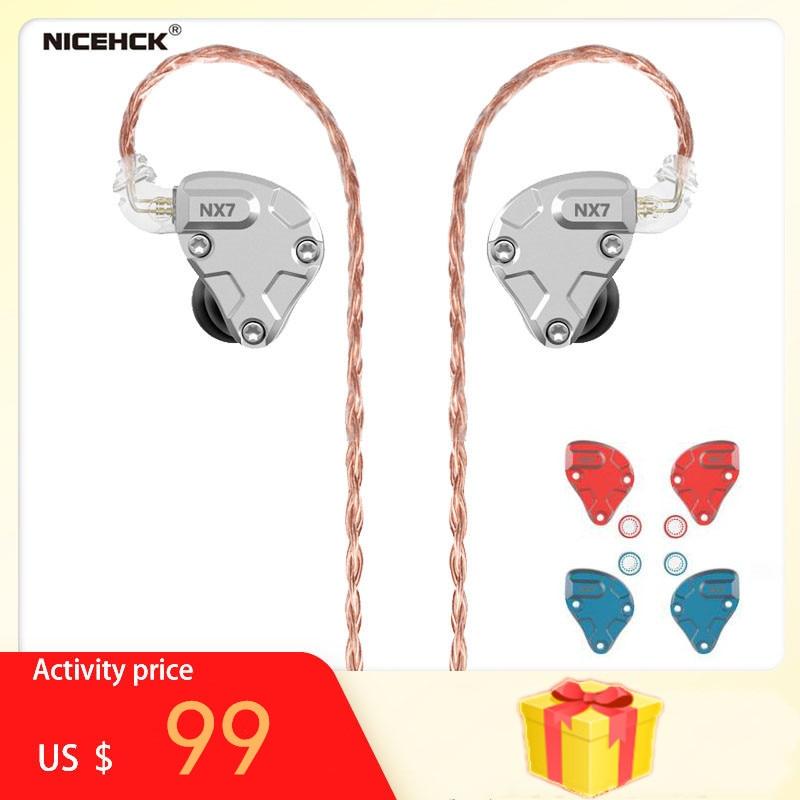 NICEHCK-auriculares internos NX7 Pro, 7 unidades, 4BA + Dual CNT Dynamic + reemplazable filtro Facepanel IEM HIFI