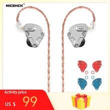 Nicehck nx7 pro 7 unidades motorista no ouvido fone de ouvido 4ba + duplo cnt dinâmico + substituível filtro facepanel iem fones de ouvido alta fidelidade