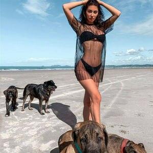 Sommer Strand Frauen Sexy Mesh Sheer Bikini Cover Up Kurzarm Gestreiften Kleid Bademode Badeanzug Kleider