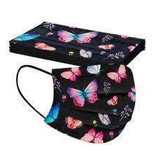 10-50 Uds adulto desechables máscaras de moda de las mujeres mariposa colorida impreso Mondkapje no tejida 3 capa de máscara de la boca Mascarillas
