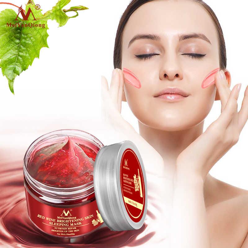 אדום יין מהות פנים שינה מסכת הלבנת מסכה מזינה לחות תזונת תיקון להאיר את עור ג 'ל לילה