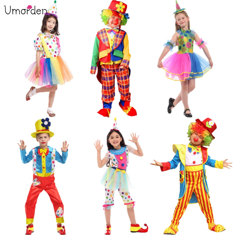 Umorden Halloween Costumes Kids Children Big Top Circus Clown Costume Naughty Fancy Fantasia Infantil Cosplay For Boys Girls