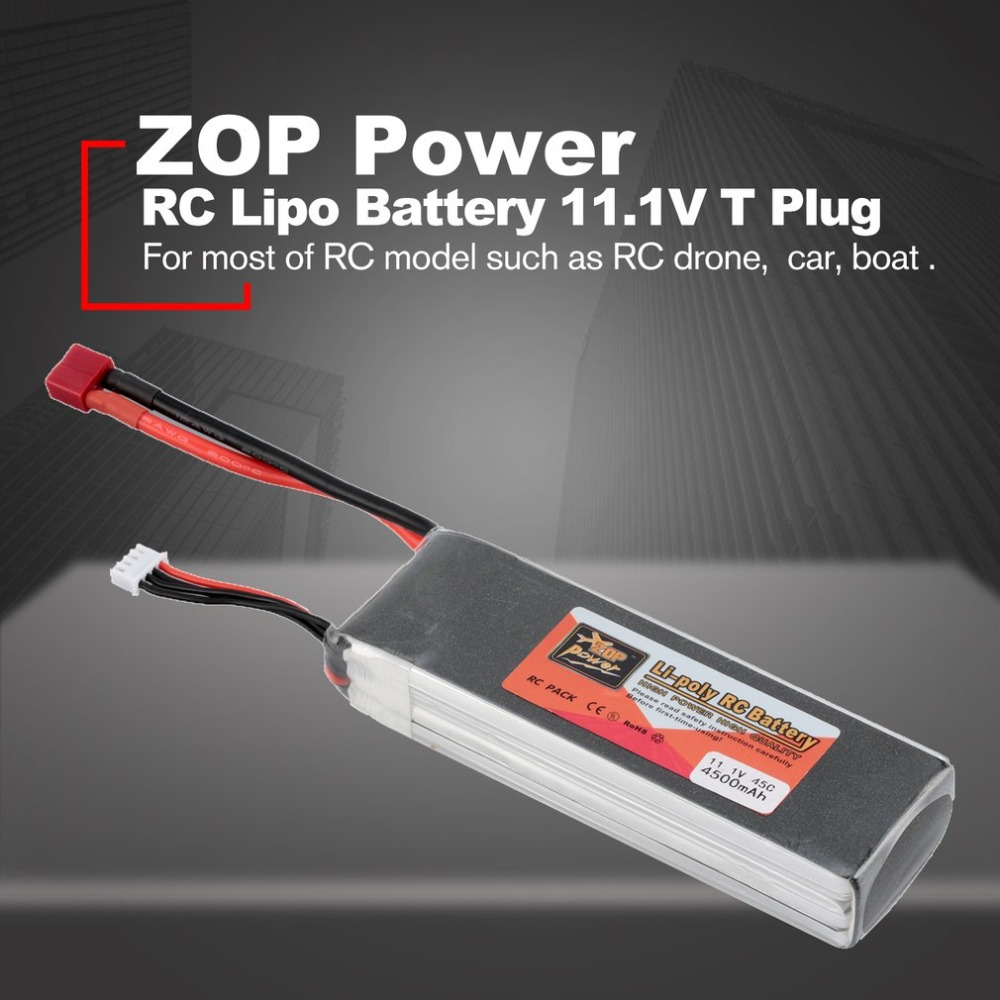 ZOP Power 11.1V 4500mAh 45C <font><b>3S</b></font> 1P Lipo <font><b>Battery</b></font> T Plug Rechargeable for RC Racing Drone Quadcopter Helicopter Car Boat image