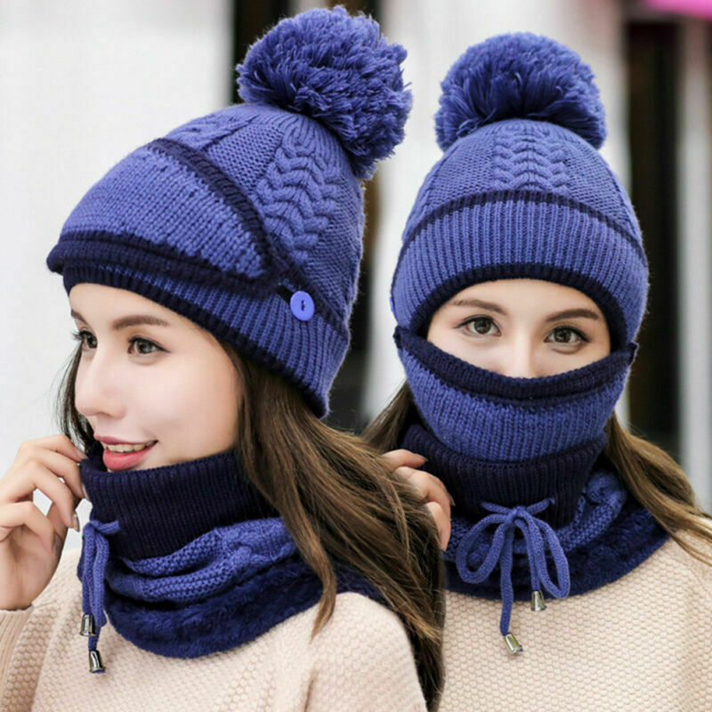 Women Knitted Beanie Scarf Hat Face Mask Set Snood Neck Winter Pompom Cap Thicken K2