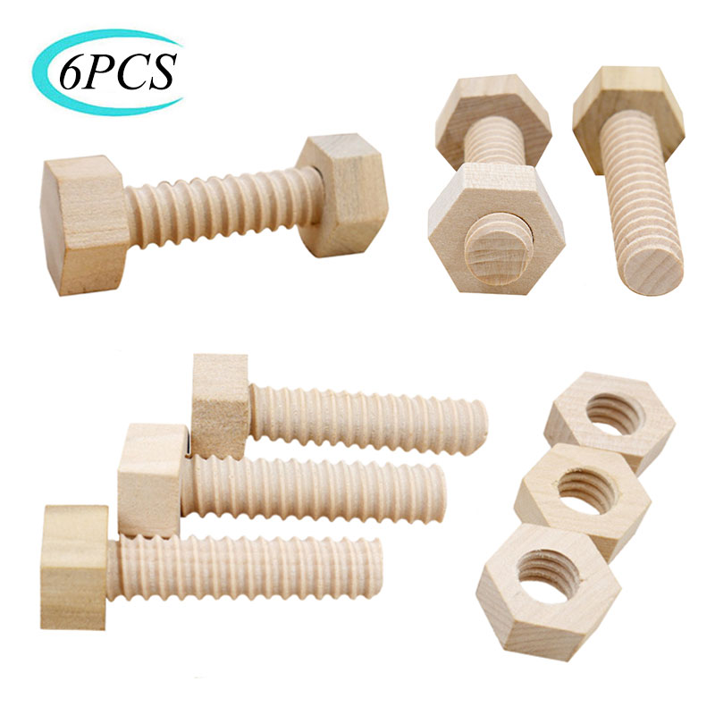 Wooden-Toy Assembling Screw-Nut Educational-Toy Solid-Wood Child for Teaching-Aid Hands-On