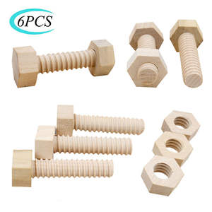 Wooden-Toy Assembling Screw-Nut Educational-Toy Teaching-Aid Hands-On Solid-Wood Child