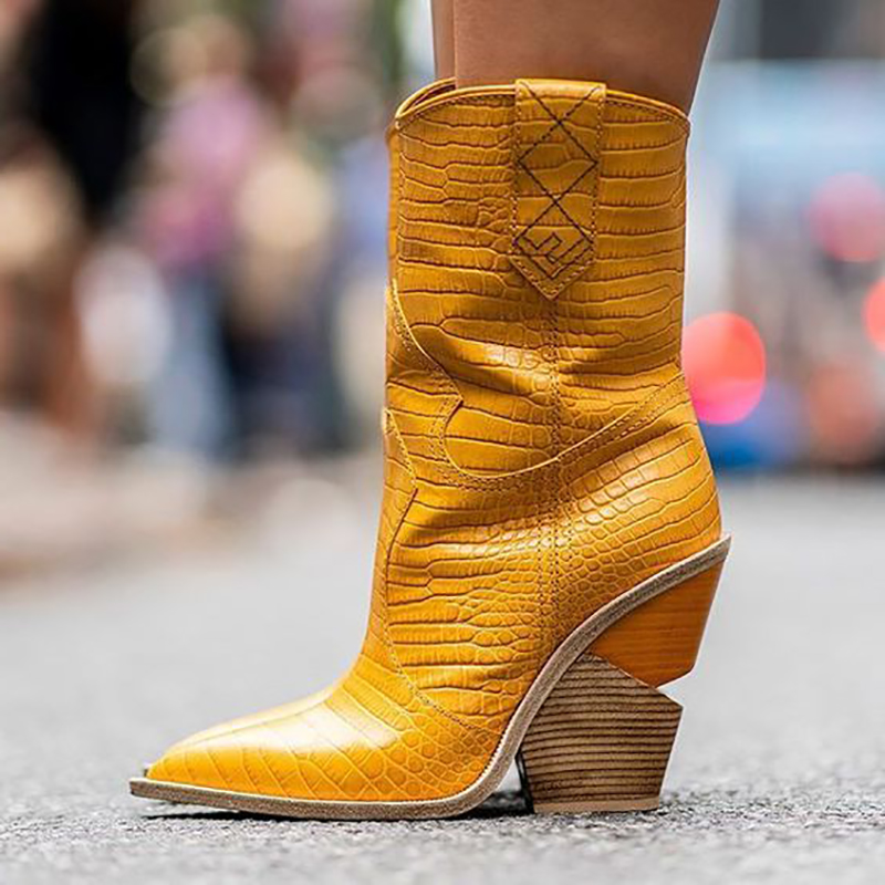 Yellow Wedges Python Boots Mid Calf Pointed Toe Trendy Shoes Fall To Winter Women Booties Slip On Oversize Style High Heel