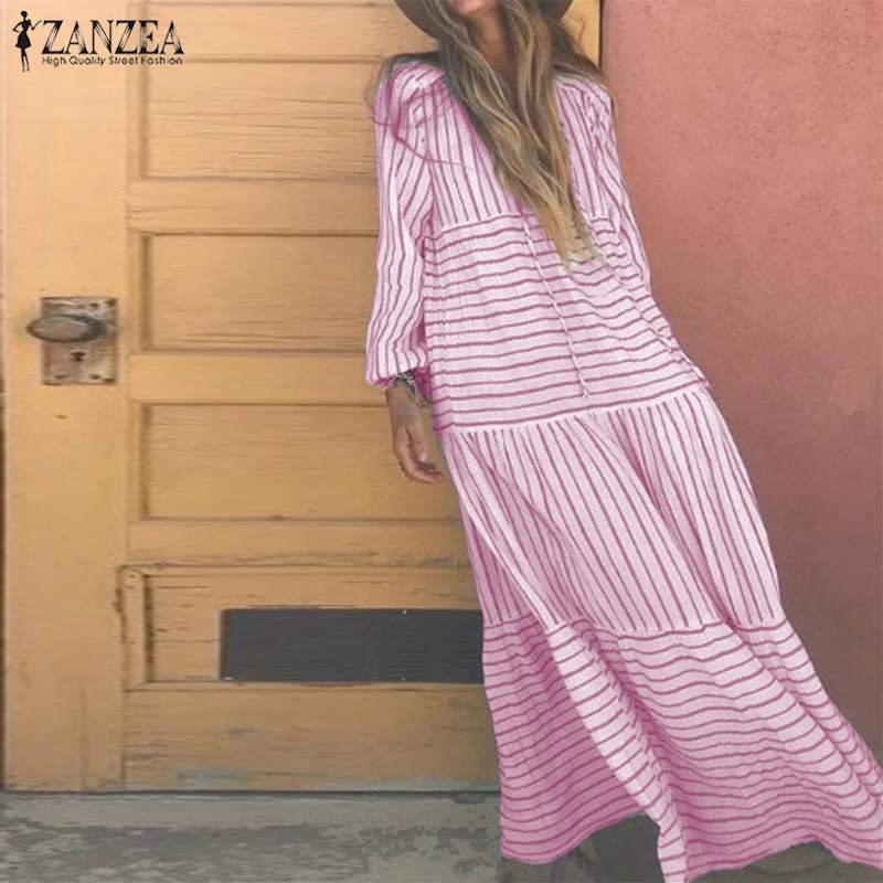 Women Long Maxi Dress 2019 VZANZEA Female Printed Stripe Vestidos Ladies Casual Long Sleeve Dresses Party Sundress Kaftan Robe 7