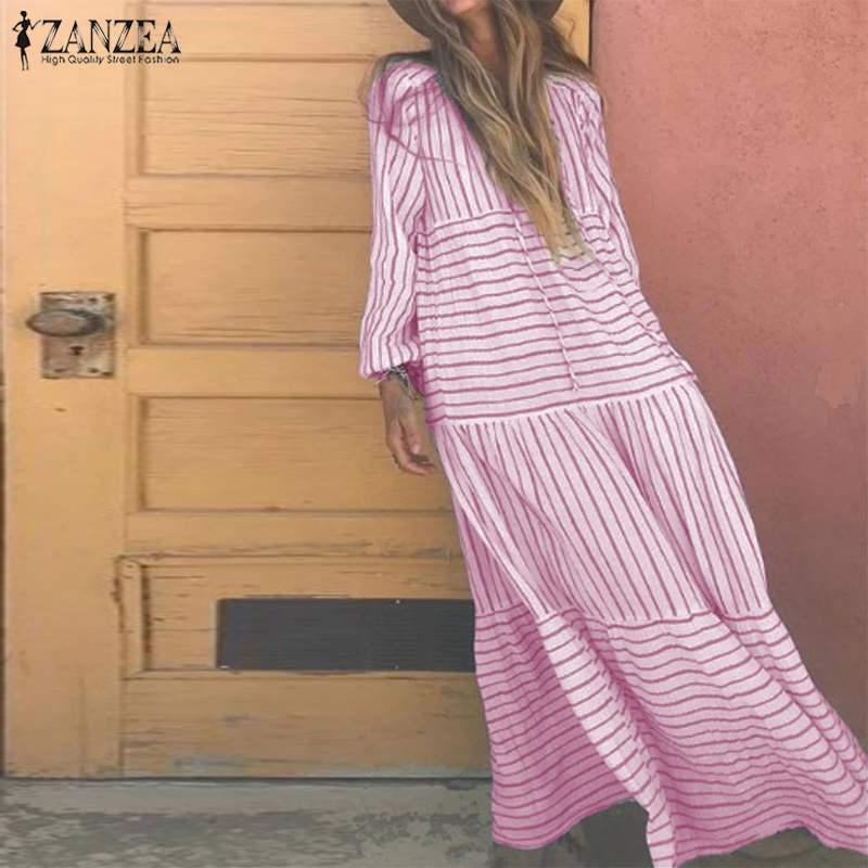 Women Long Maxi Dress 2020 ZANZEA Female Printed Stripe Vestidos Ladies Casual Long Sleeve Dresses Party Sundress Kaftan Robe 7