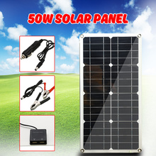 Solar Panel 50W Monocrystalline Silicon Cell for Battery Cell Phone Chargers Cigarette Lighter Double USB Interface 12V/5V