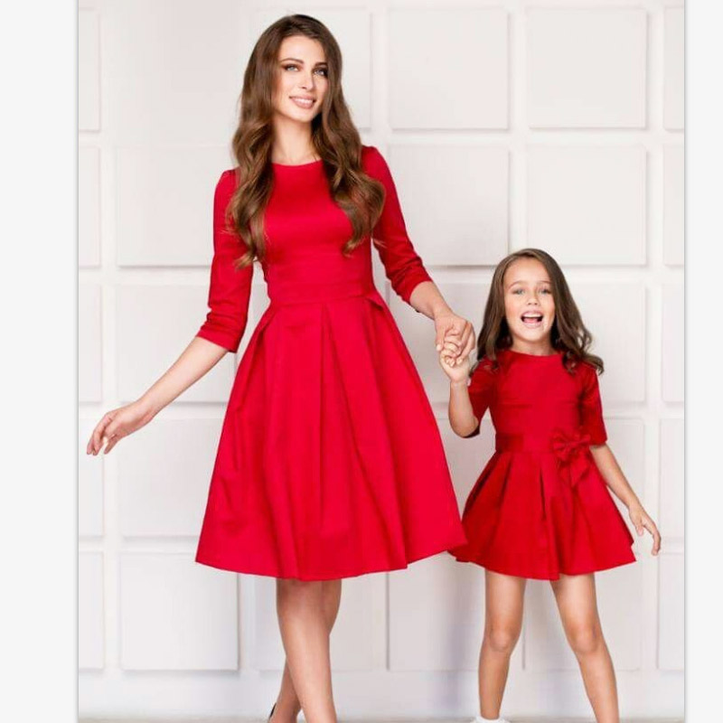 Family Outfits Daughter-Dresses Evening-Dress Mommy Party Elegant Mum And Me Matching