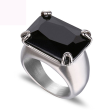Hot sale black big zircon rings jewelry titanium steel finger ring fashion wedding rings for men and women free shipping titanium jewelry affordable prices custom black mens wedding band finger rings
