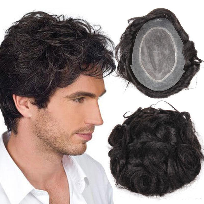 BYMC Human Hair Wigs For Men Men's Toupee Top Hair Piece With NPU Most Durable Toupee Peruvian Remy Hair Comfortable Mens Wig