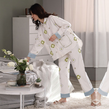 Long-sleeve sleepwear cotton two-piece suit casual printed home wear plus size bathrobe maternity pajamas soft nightwear new image