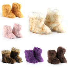 Women Boots Furry Luxury Comfortable Winter Ankle Fox-Fur Faux Warm Soft