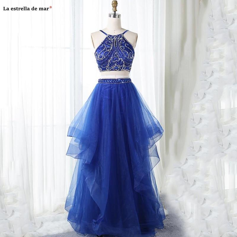 Vestidos De Gala New Tulle Beaded Halter A Line Royal Blue 2 Piece Prom Dresses Long Evening Gowns Custom Gala Jurken Real Photo