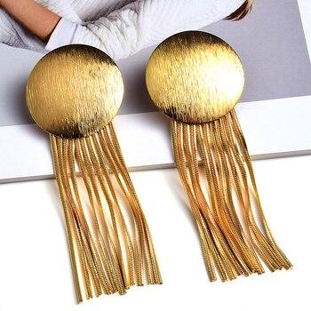 Gold Metal Chain Tassel Earrings  3