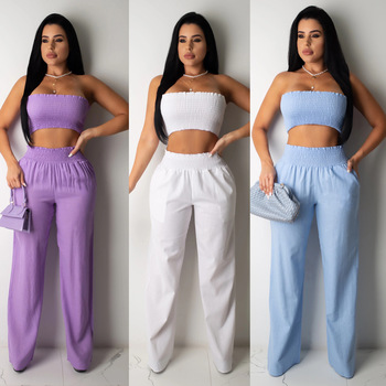 Zoctuo Strapless Two Piece Sets for Women Solid Crop Tops and Trousers Sexy Two Piece Set Summer Fashion Set Women Two Piece two empresses