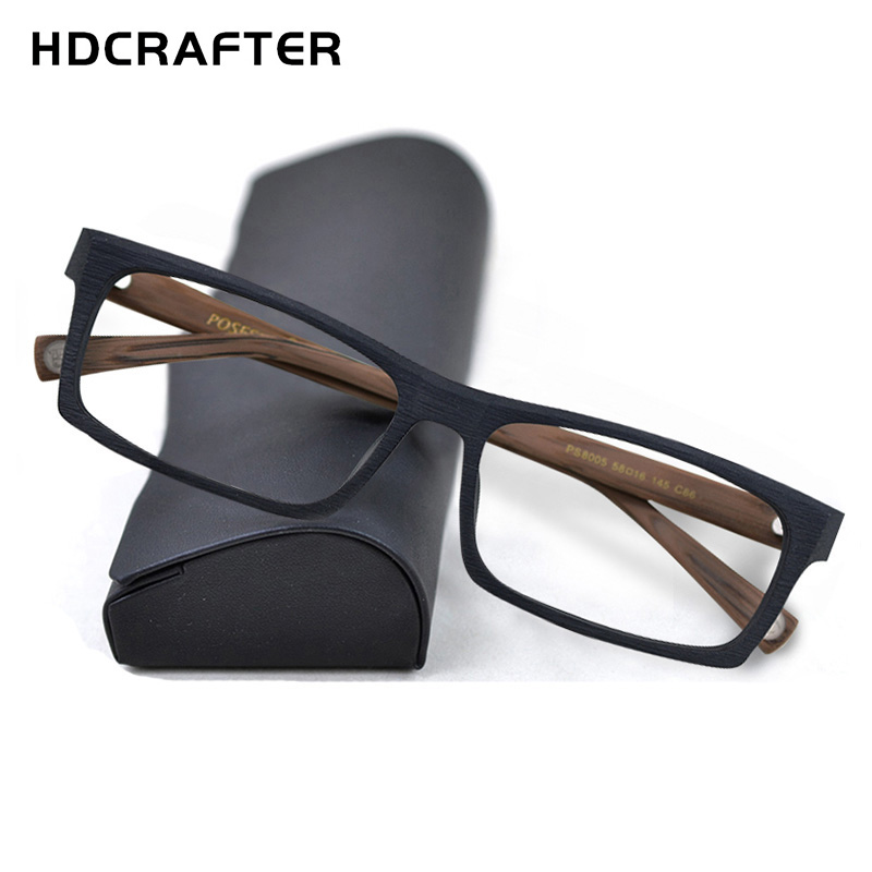 HDCRAFTER Glasses Frame Wood Optical Prescription Men Square Eyewear Male  Spectacles Eyeglasses Frames Gafas Oculos 2020