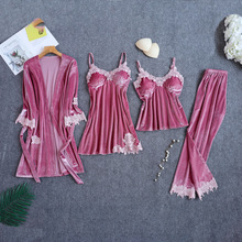 Velour Sleepwear Female with Chest Pads Sexy Women Pajamas L