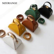 Female Cow Leather Women's Bag Semi-circular Casual Shoulder Crossbody Bag For Women 2019 Shell Bag Wide Shoulder Strap Lock Bag