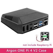 Argônio um raspberry pi 4 modelo b caso v2 alumínio metal abs escudo com interruptor de alimentação + ventilador refrigeração dissipadores de calor para raspberry pi 4