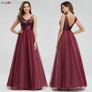 Image 2 - Элегантные вечерние платья с длинным рукавом и v образным вырезом, вечерние платья трапециевидной формы без рукавов с блестками EP07910NB, блестящие вечерние платья 2020