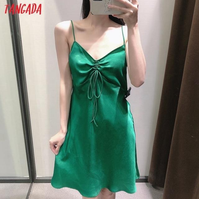 Tangada Women Green Pleated Sexy Satin Short Dress Strap Sleeveless 2021 Summer Fashion Lady Dresses Vestido 3H320 2