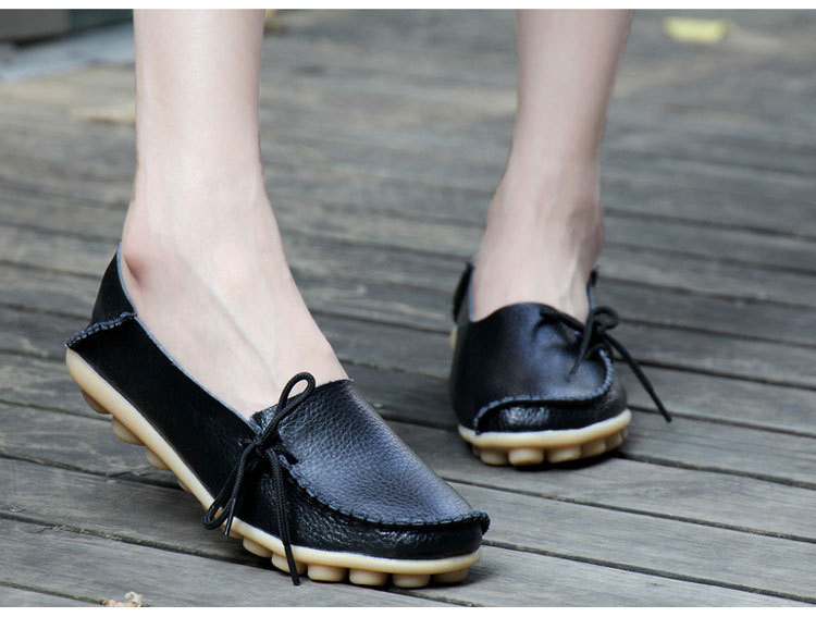 AH 911-2019 Spring Autumn Genuine Leather Women Loafers Walking Mother Flats-4