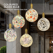 Classic design LED colorful light bulb chandelier mosaic color gold plated glass mirror ball chandelier