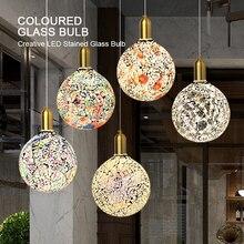 Klasik tasarım LED renkli ampul avize mozaik renk altın kaplama cam ayna topu avize