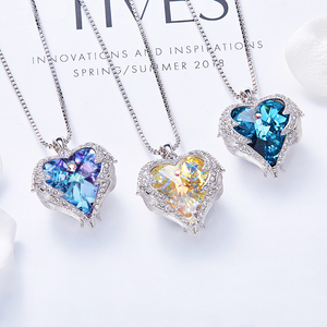 Image 3 - CDE Women Silver Color Necklace Embellished with Crystals from Swarovski Necklace Angel Wings Heart Pendant Valentines Gift