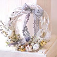 Flower-Crafts Wreath-Ornaments Garland Hanging Artificial-Decoration Rattan Wicker Christmas