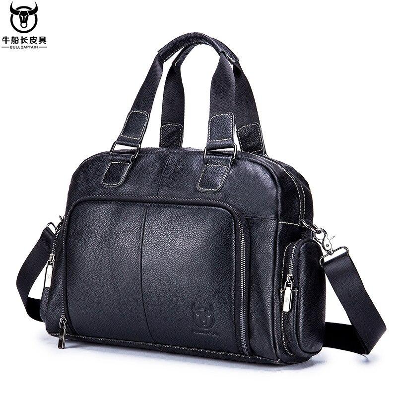 Genuine Leather Men's Fashion Travel Bags Business Bags Luggage Shoulder Messenger Handbags High Capacity Multi-Pocket Bag Gift