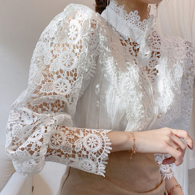 Petal Sleeve Stand Collar Hollow Out Flower Lace Patchwork Shirt Femme Blusas All-match Women Blouse Chic Button White Top 12419 5