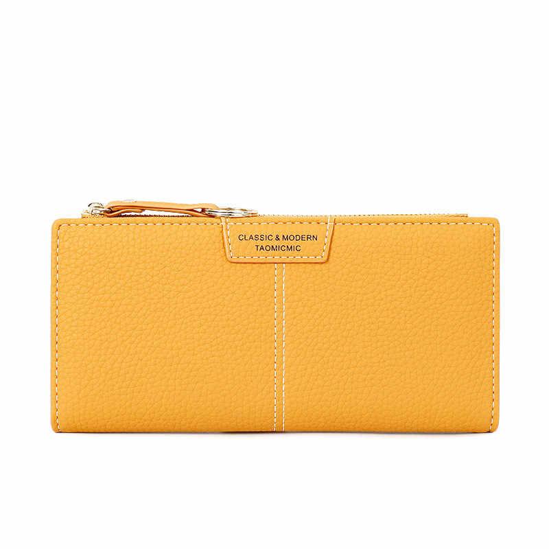 Portfel damski damski długi portfel jednokolorowy sprzęgło 2020 nowy portfel ze skóry pu Zipper mobilna karta telefoniczna torba portfel
