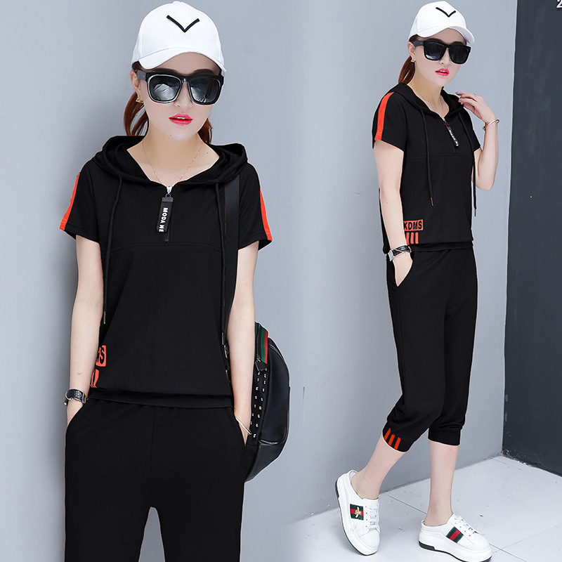Leisure Suit Women's 2019 Summer Fashion New Style Short Sleeved Sports Set Capri Pants Korean-style Slim Fit Two-Piece Women's