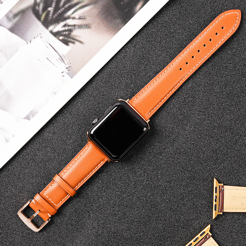 OTMENG High Quality Soft Genuine Leather 42mm 38mm 44mm 40mm Watch Band Suitable For Apple Watch Series 2 3 4 5 IWatch Strap