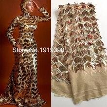 Tela de encaje africano 3D 2020 encaje de alta calidad con lentejuelas, telas de encaje Nigeriano para ropa de costura vestido de fiesta 5 yardas J20632