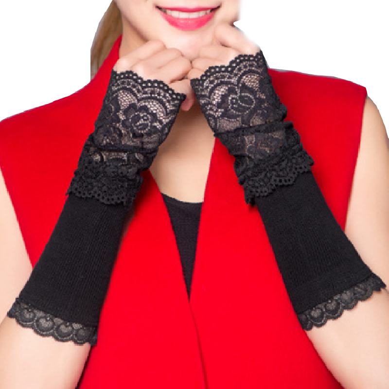 Winter Arm Warmer Hand Warmer Fingerless Long Gloves Lace Arm Sleeve Arm Warmer
