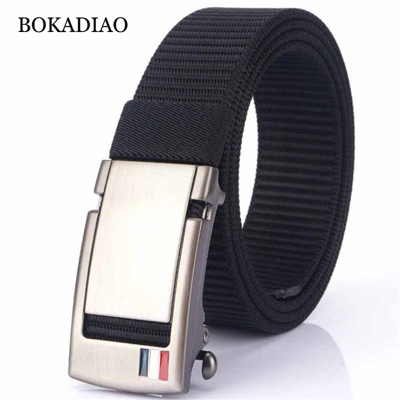 BOKADIAO Men&women Nylon Belt Metal Automatic Buckle Belts Outdoor Sports Casual Jeans Waistband Army Military Canvas Male Strap