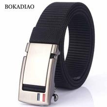 BOKADIAO Men&women Nylon Belt Metal Automatic Buckle belts O