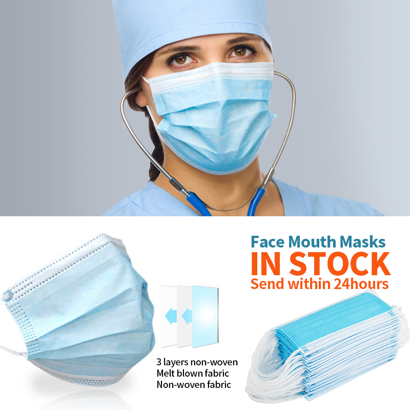50-200 pièces masque jetable 3 couches masque médical Non-tissé filtre Anti-pollution visage Mascarilla adulte bleu bouche masque 5