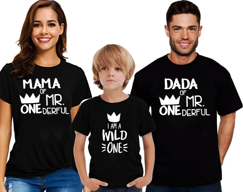 1PC Mom Dad Of Mr Onederful Shirts First Mom And Dad Tops Mama Of The Wild One Parents Of Mr Onederful Outfits