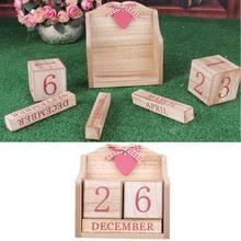 Calendrier perpétuel en bois Vintage, affichage de la Date du mois, blocs éternels, accessoires de photographie, accessoires de bureau, décoration pour la maison et le bureau