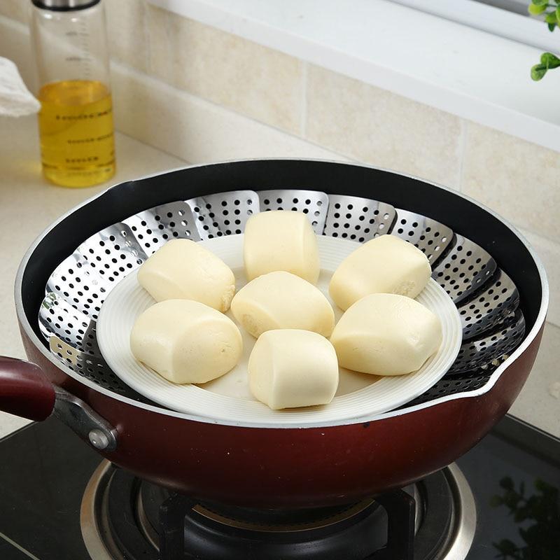 Stainless Steel Steaming Food Basket Mesh Steamer Folding Food Fruit Vegetable Vapor Cooker Dish Steamer Kitchen Tools